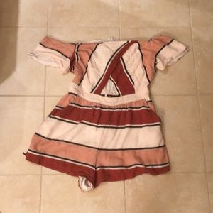 Kendall and Kylie striped off the shoulder romper